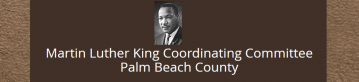 Picture of Martin Luther King Jr. with white lettering and brown background