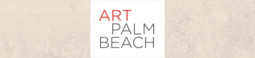 White Art Palm Beach Logo with Black and Red lettering and a tan marble background