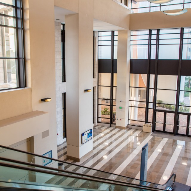 Interior photo of Southeast entrance looking down from the top of the escalator