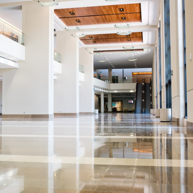 Interior photo of the North lobby on the first floor facing west from the north entrance