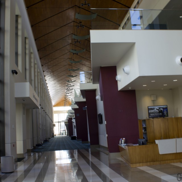 Interior photo of First floor east concourse facing south from the parking entrance